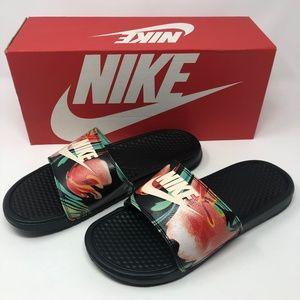 Nike Women's Benassi JDI Sandal-Black/Crimson Tint